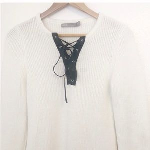 ASOS Sweaters - FIRM ASOS Ivory Soft Knit Lace Up Sweater 6